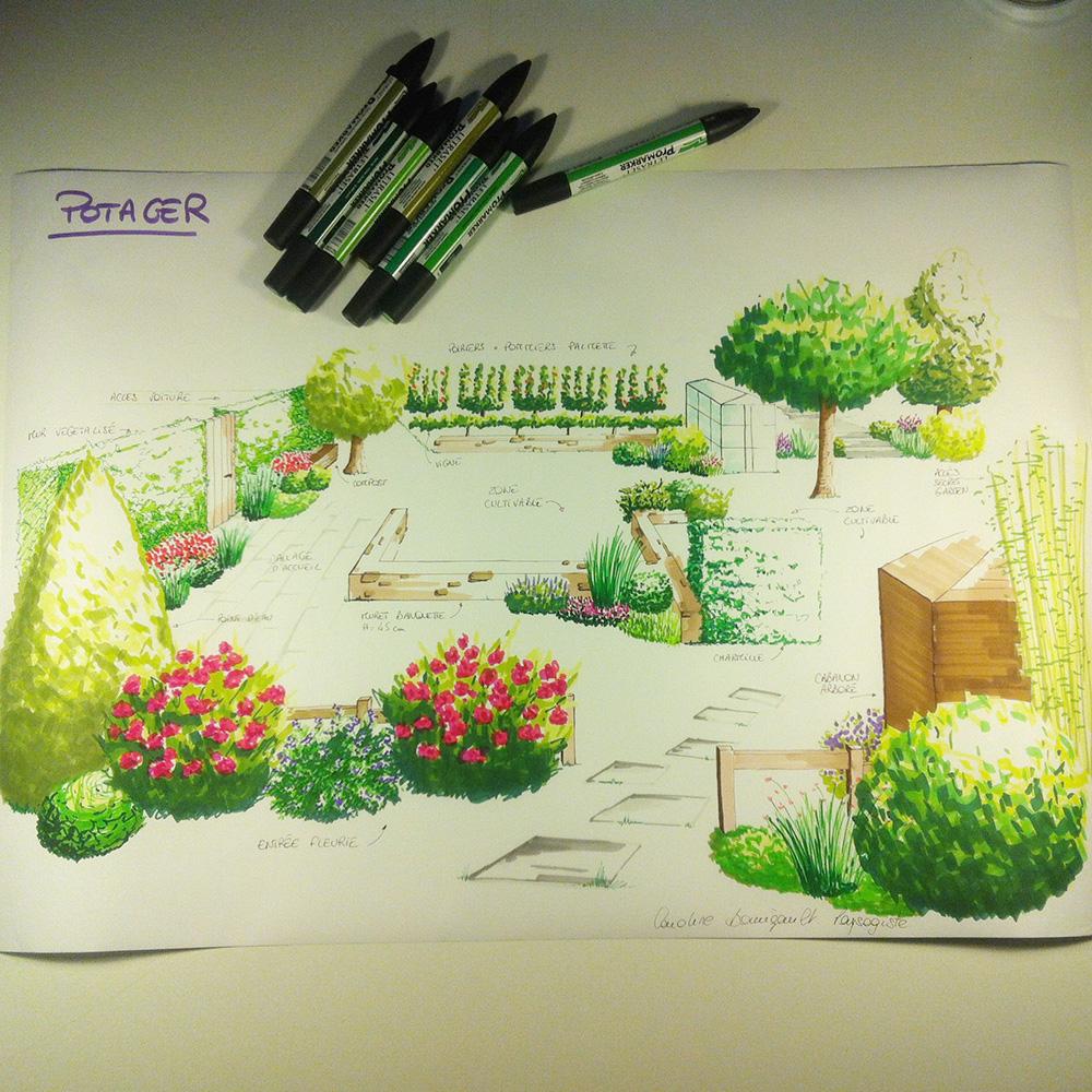 croquis d 39 ambiance d 39 un potager l 39 atelier au fond du jardin. Black Bedroom Furniture Sets. Home Design Ideas