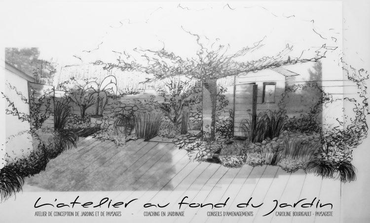 Croquis d'ambiance d'après photo d'une terrasse ombragée