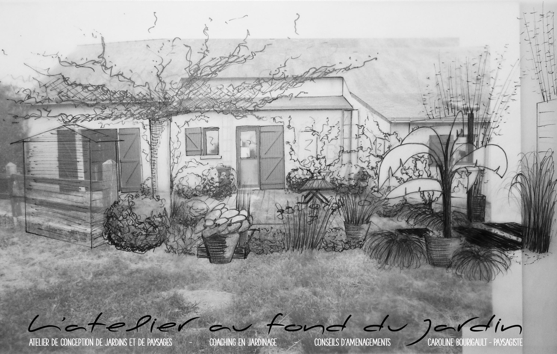 croquis d 39 une terrasse ombrag e l 39 atelier au fond du jardin. Black Bedroom Furniture Sets. Home Design Ideas