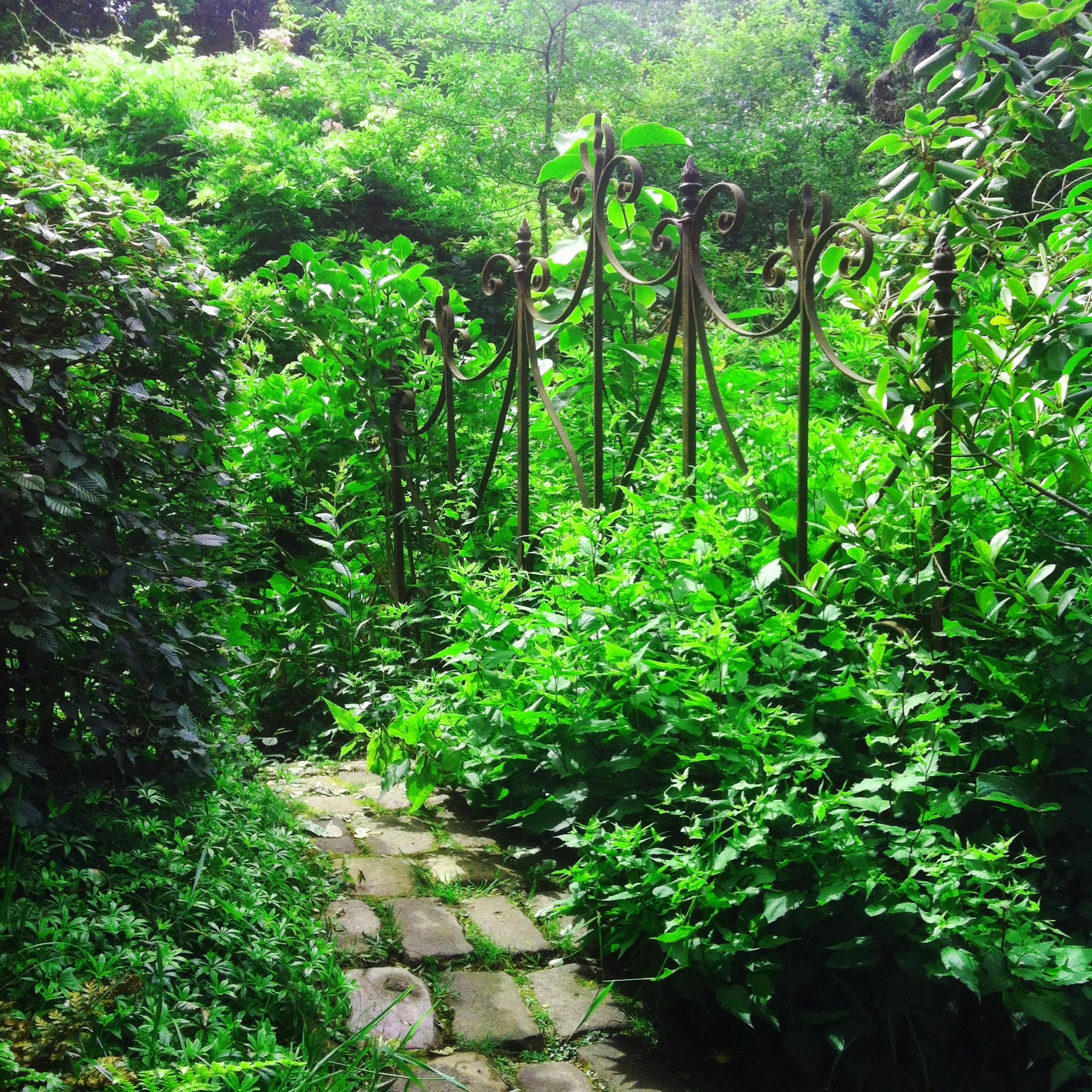 Jardin du Petit Bordeaux petit chemin pavé vers l'étang