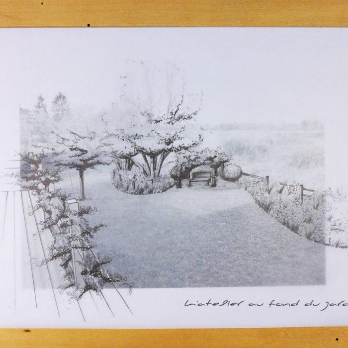 Esquisse sur photo d'un aménagement paysager vue sur la campagne