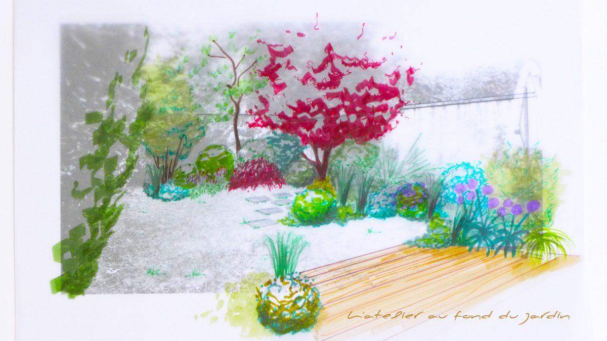 Croquis d'une terrasse en bois dans un petit jardin de ville ceinturé de murs. Angers 49