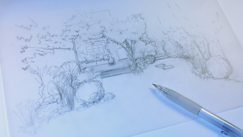 Esquisse au crayon d'une terrasse en bois dans un petit jardin de ville