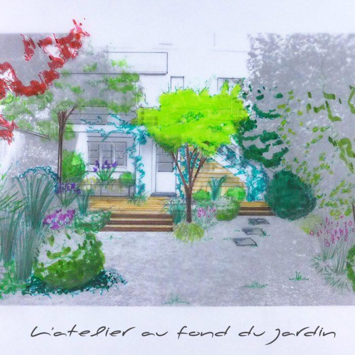 Croquis d'une terrasse en bois dans un petit jardin de ville ceinturé de murs