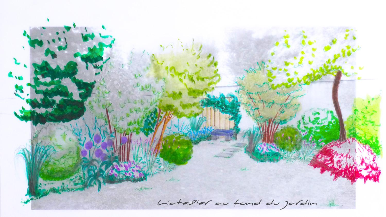 Croquis d'un petit jardin de ville ceinturé de murs. Angers 49