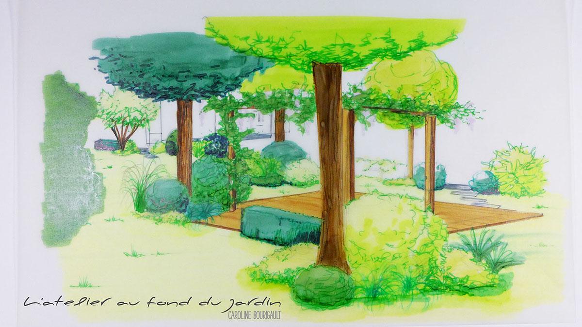 Esquisse Jardin boiséterrasse
