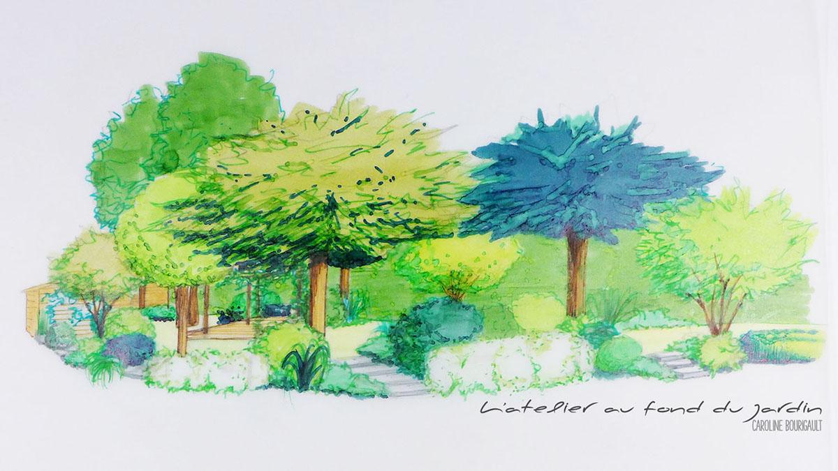 Esquisse d'un espace autour d'une terrasse bois à l'ombre d'une structure en bois et d'arbres d'ombrage