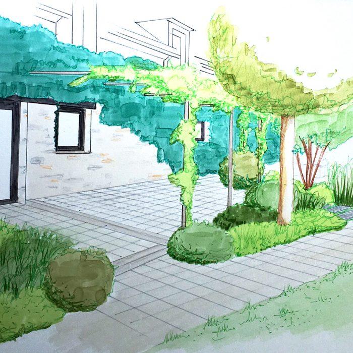 Esquisse de projet d'aménagement paysager