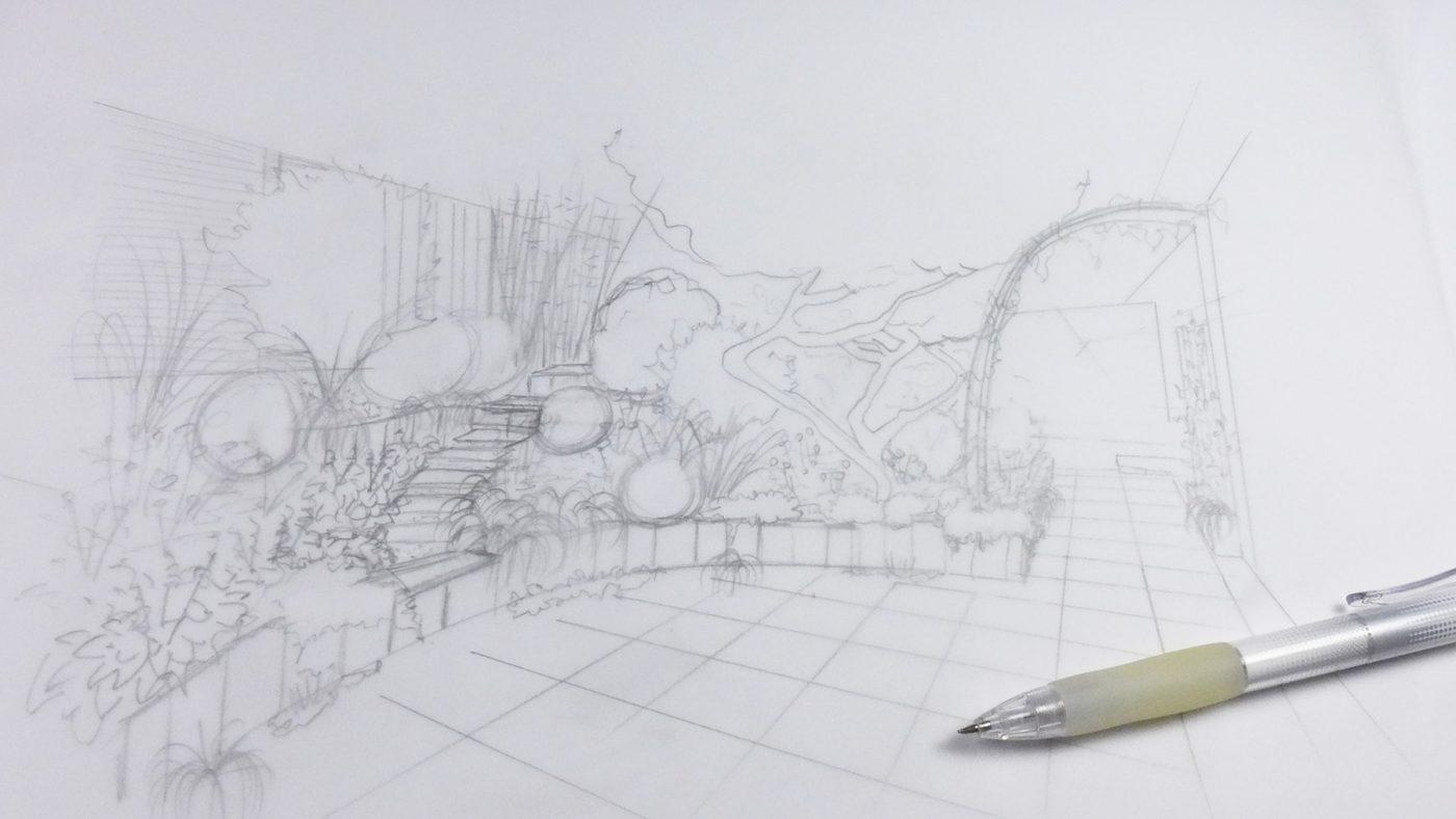 Esquisse au crayon allée de jardin