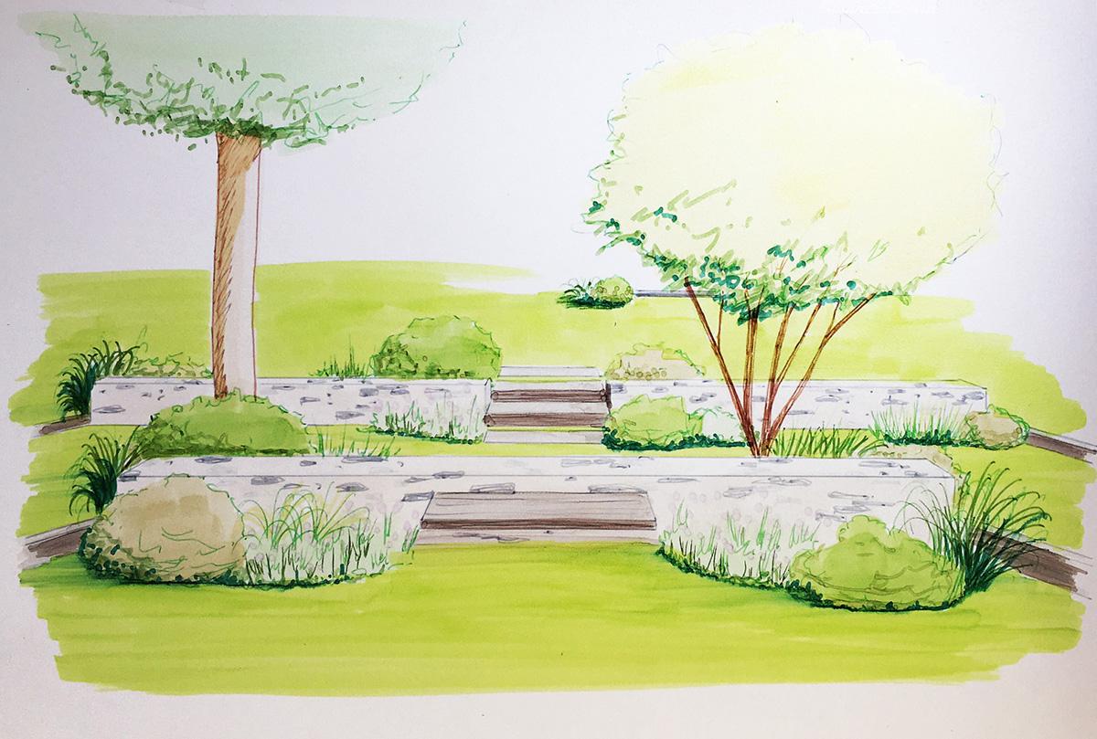 Murets de soutènement dans un jardin en pente