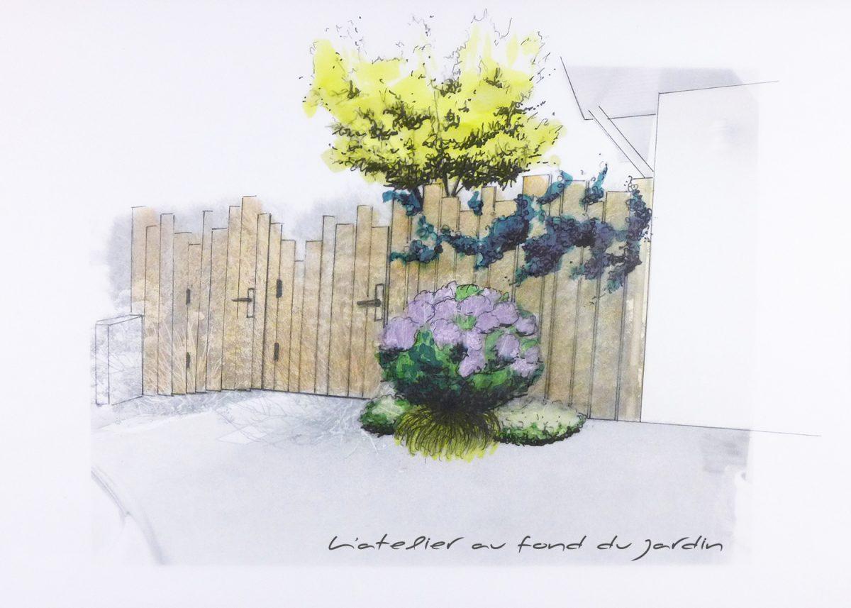 palissade bois entrée de jardin contemporain