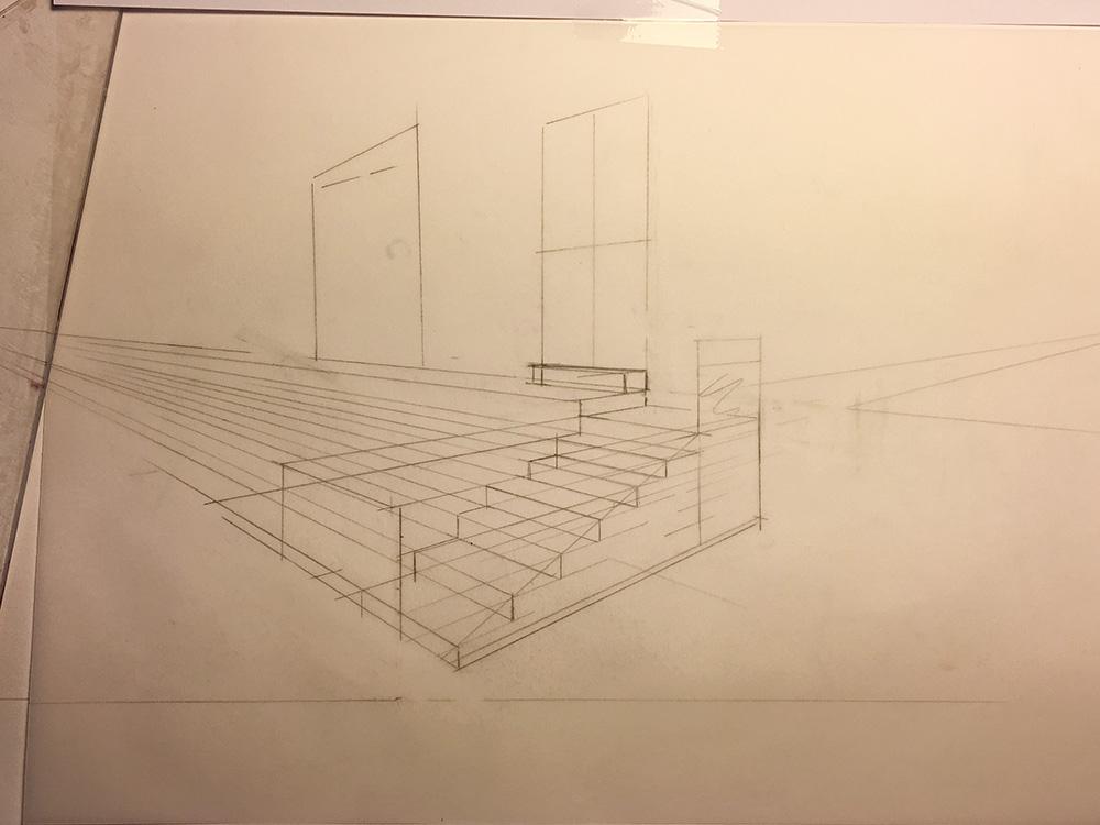 Perspective d'escalier au crayon utilisant une technique de perspective à 2 points