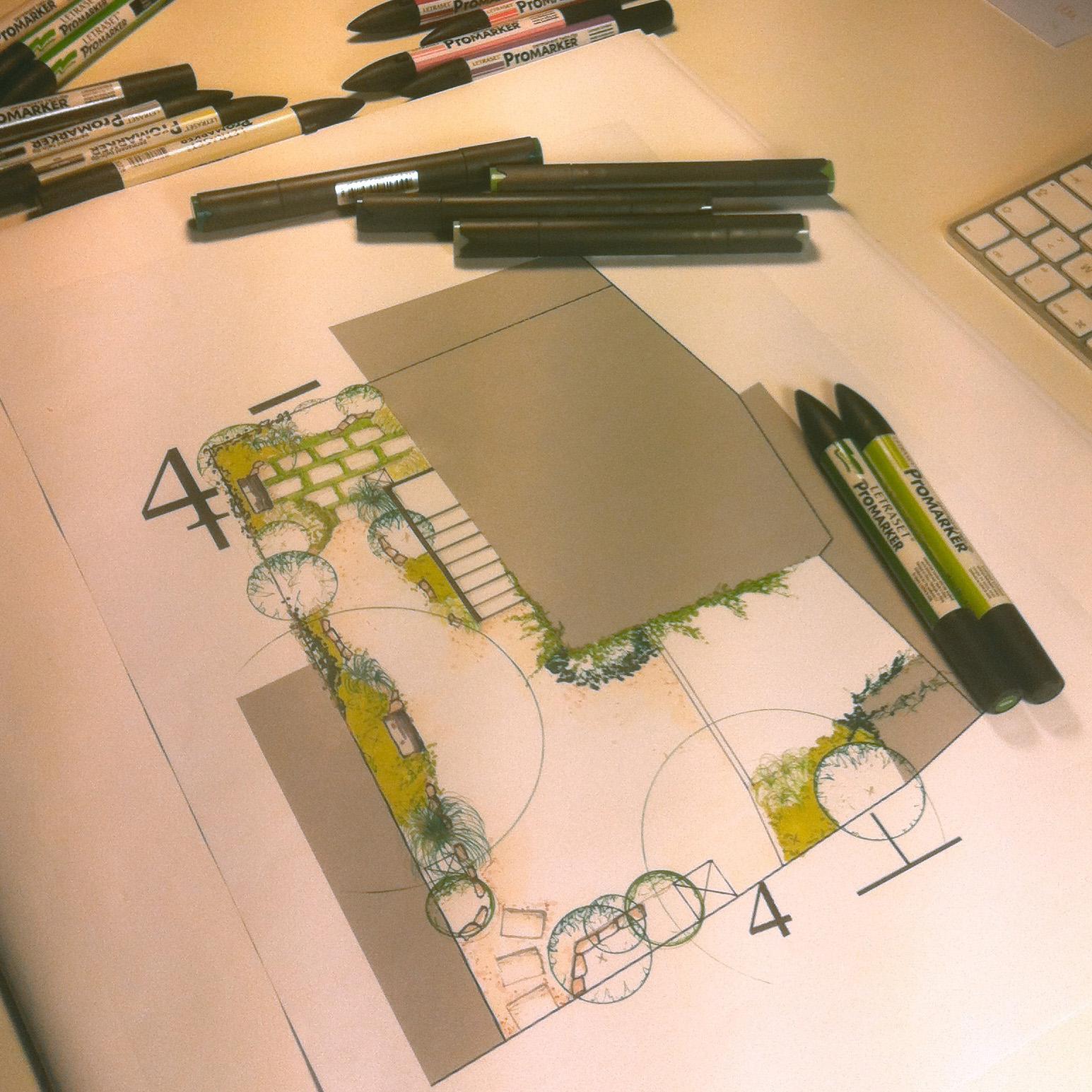 Plan d'aménagement paysager d'une cour