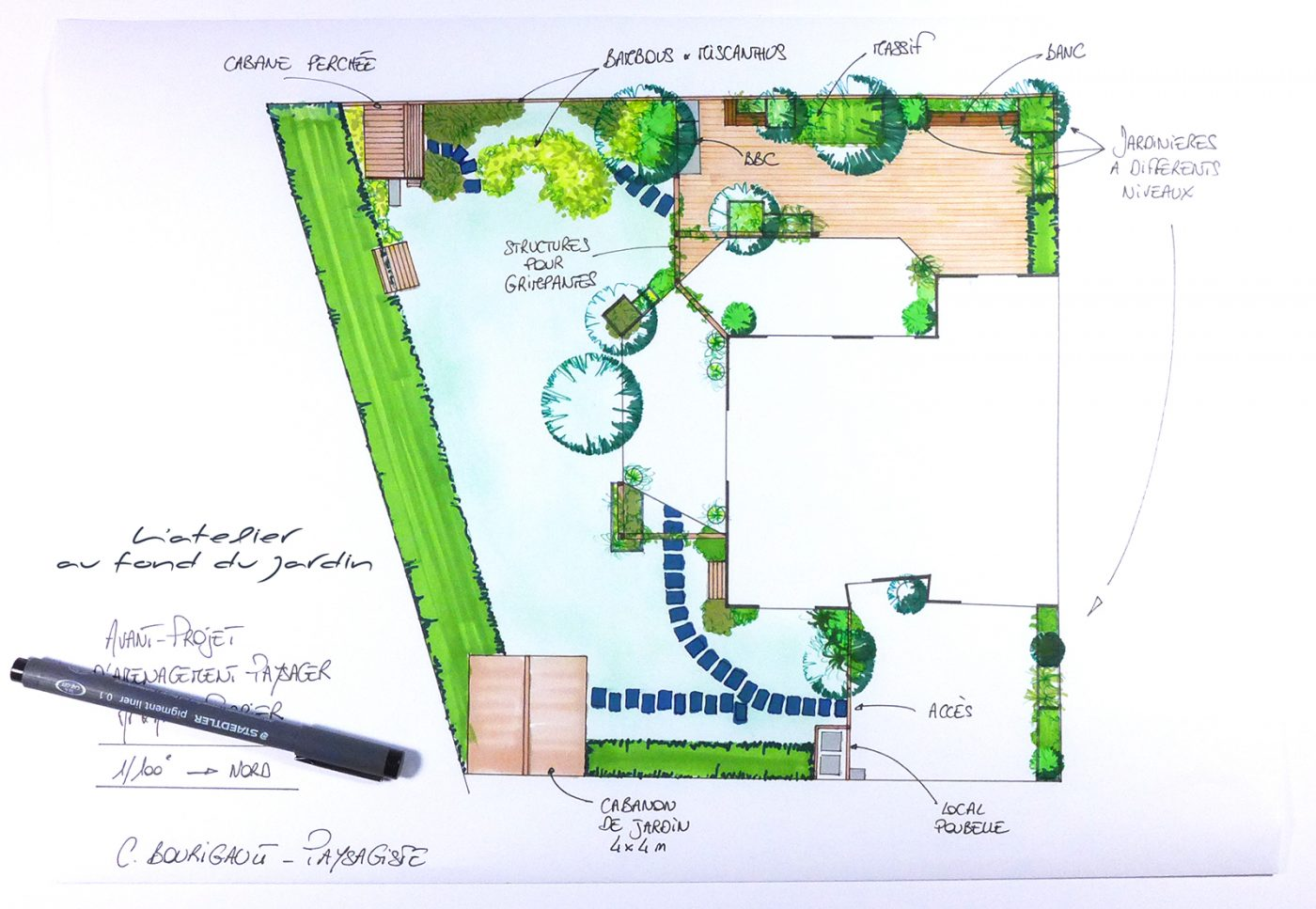 Plan d'implantation jardin contemporain
