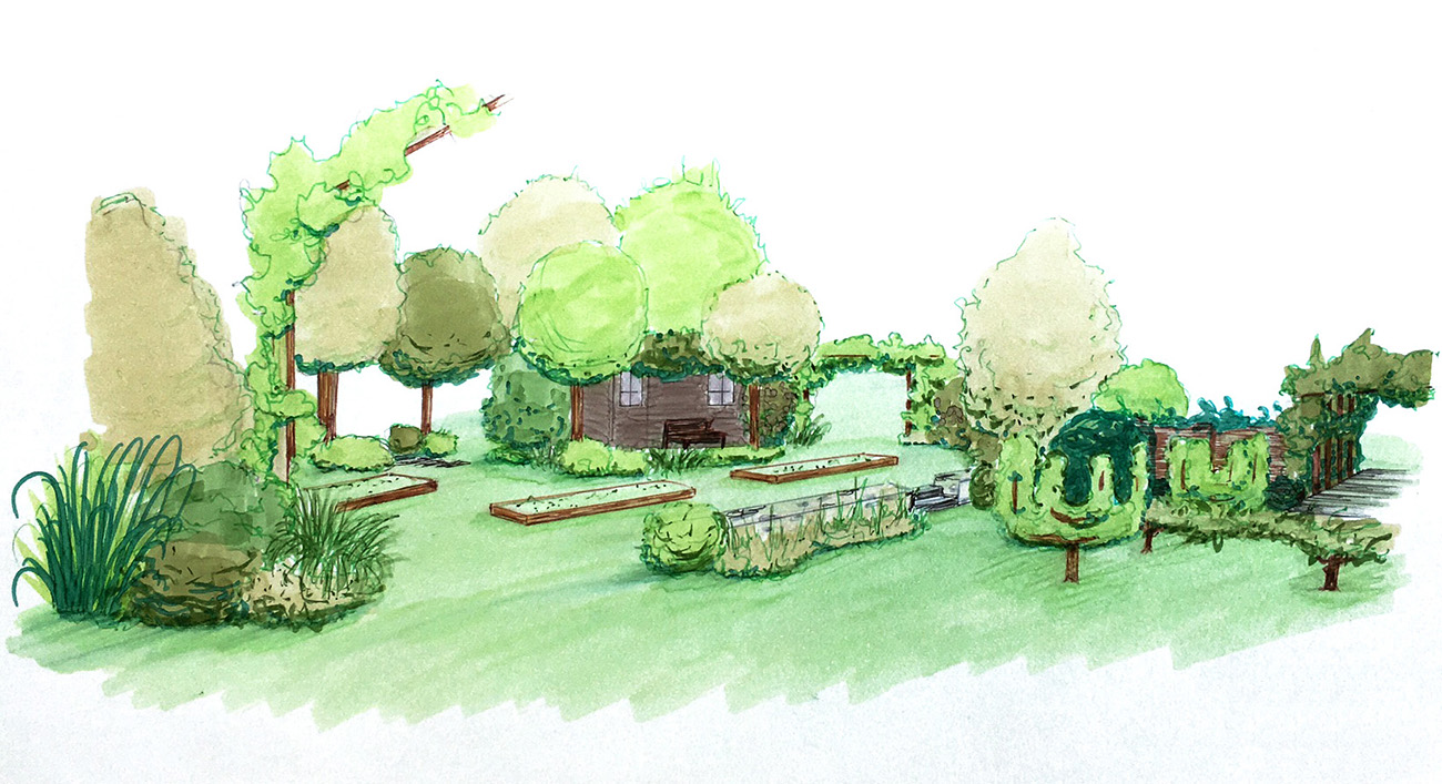 Esquisse de l'aménagement paysager d'un potager