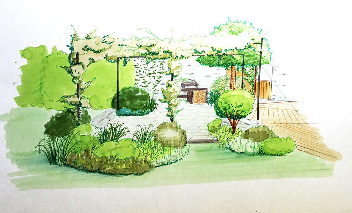 Esquisse de l'aménagement paysager d'une terrasse ombragée autour d'un barbecue