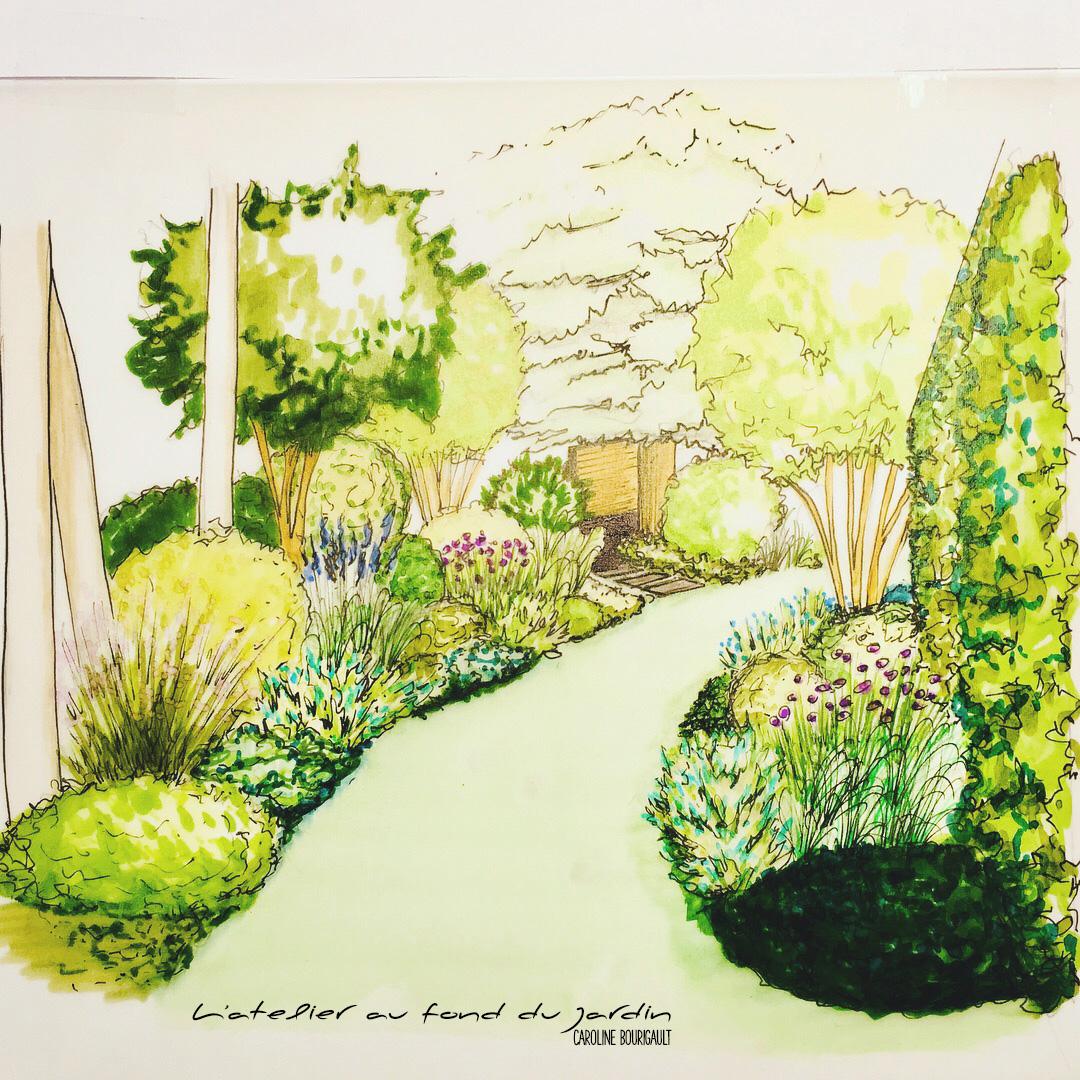 Entrée de jardin soulignée de mixed borders