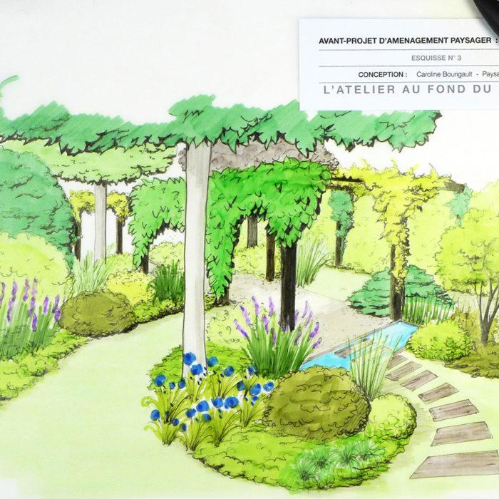 Jardin en longueur bassin et pergola