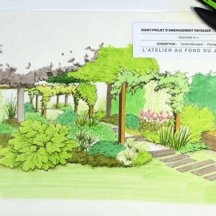 Jardin en longueur et pergola à Chalonnes sur Loire