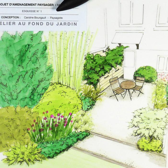 Jardin en longueur et terrasse ombragée